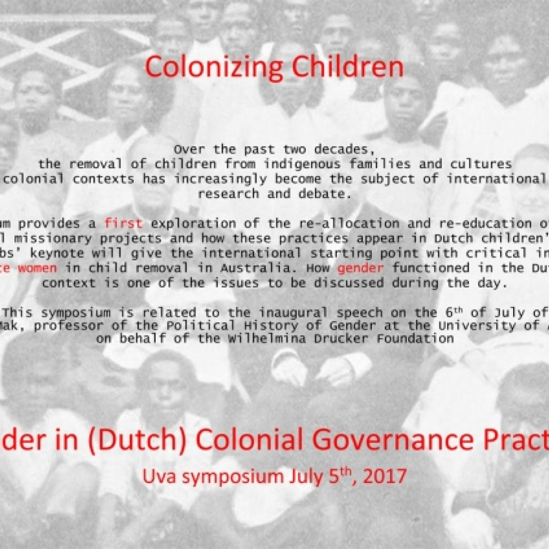 Symposium Colonizing Children 2017