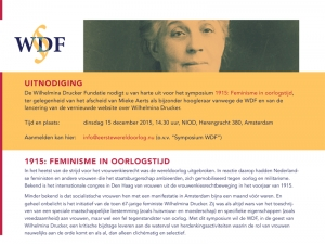 Symposium '1915: Feminisme in oorlogstijd' - 15 december 2015